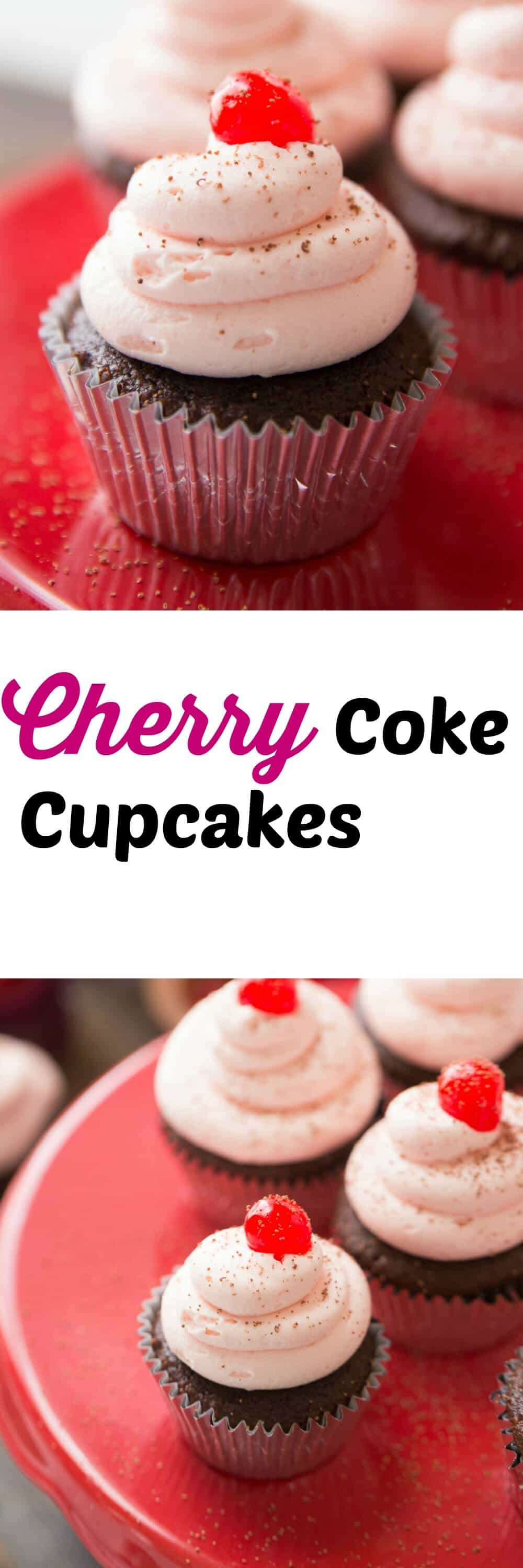 Cherry Coke cupcakes are rich and chocolatey. They are topped with a sweet and creamy cherry buttercream! A luscious glaze is tucked in between! lemonsforlulu.com