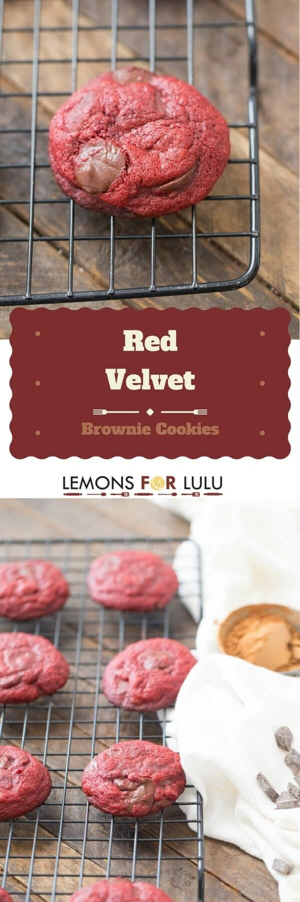 Soft brownie cookies will lots of chocolate chips and gorgeous red velvet color!