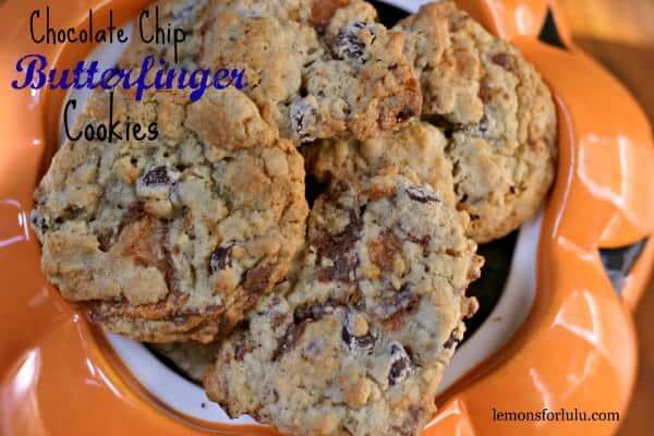 Homemade Butterfinger Cookies in an orange cookie jar.