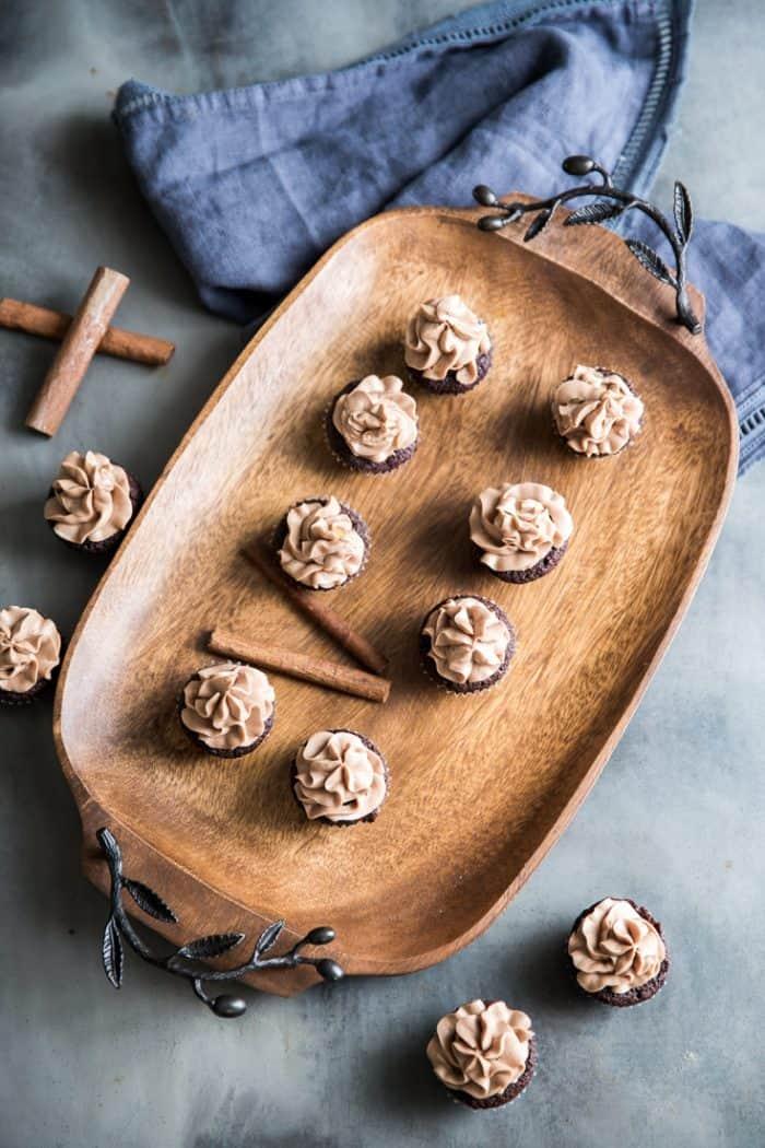 chocolate brownies on a tray