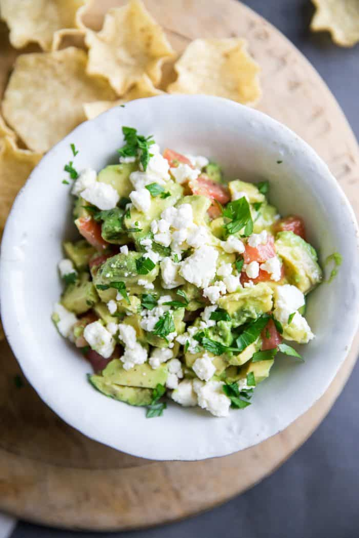 Avocado salsa close up