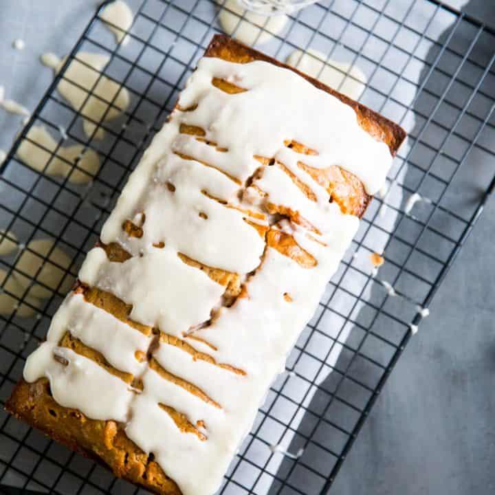 simple banana bread recipe on wire rack