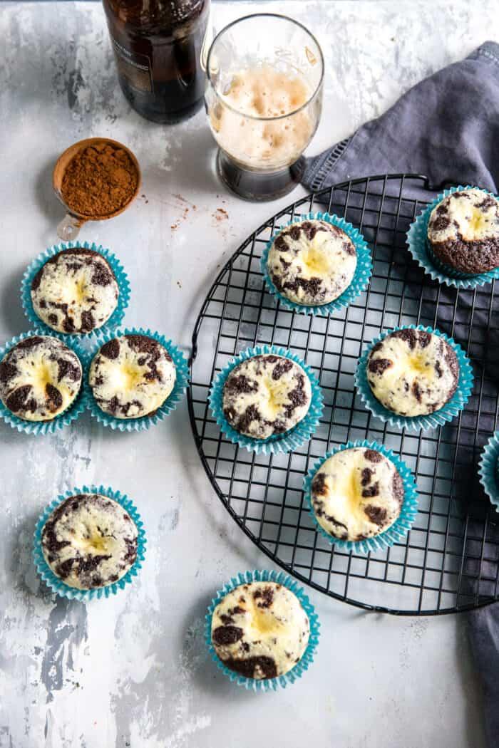 black bottom cupcakes on a baking rack