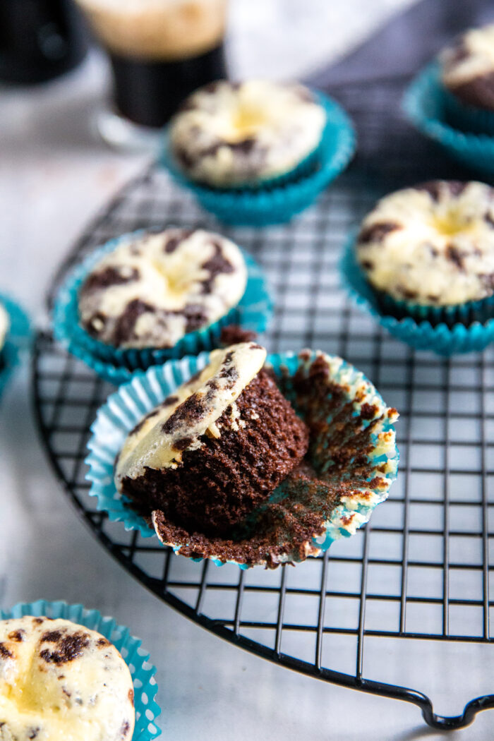 a black bottom cupcake on it's side