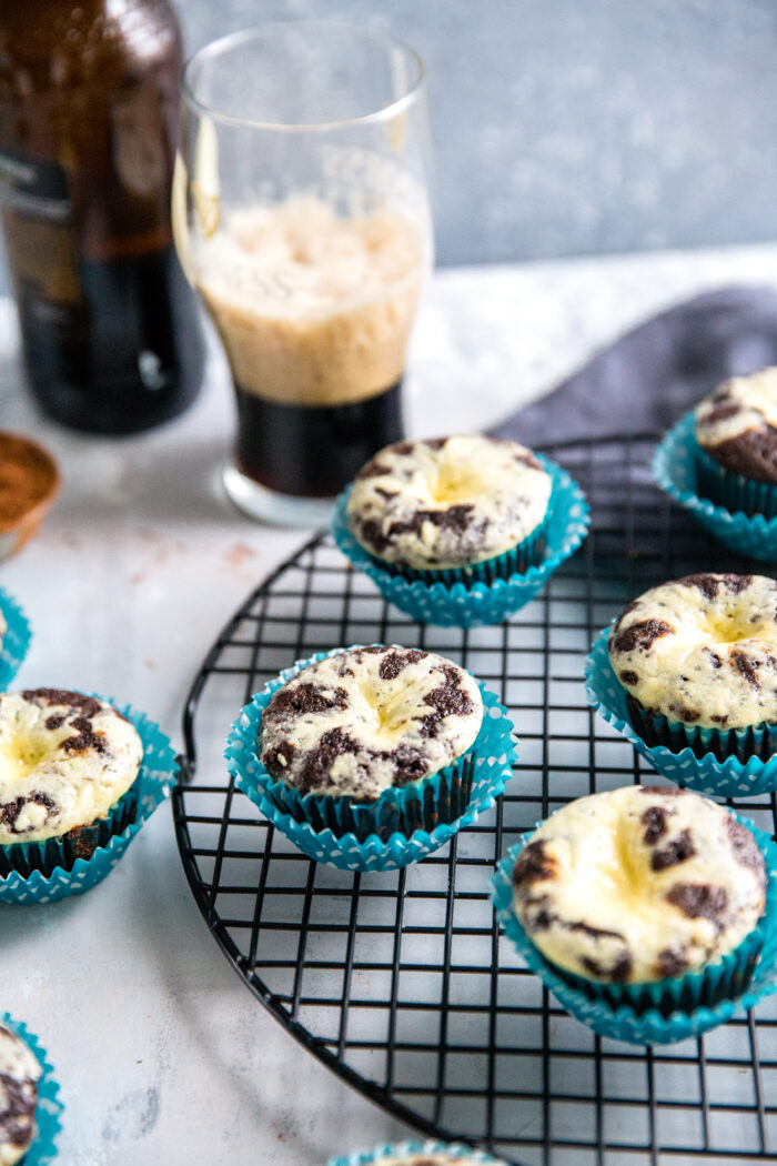 black bottom cupcakes with beer glass in the background