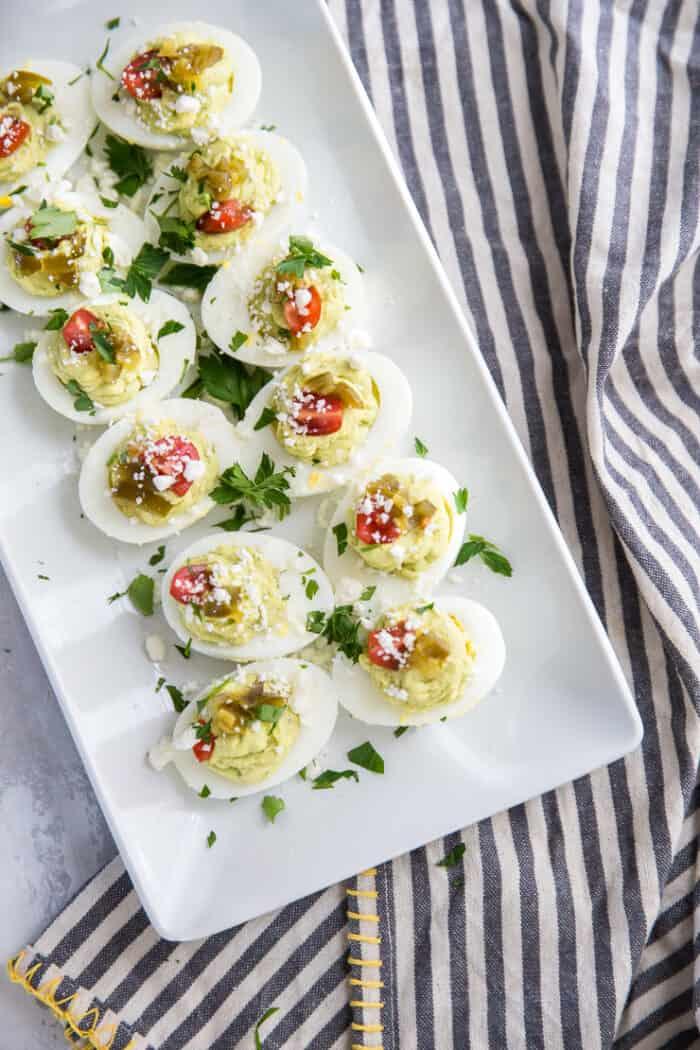 deviled eggs white platter