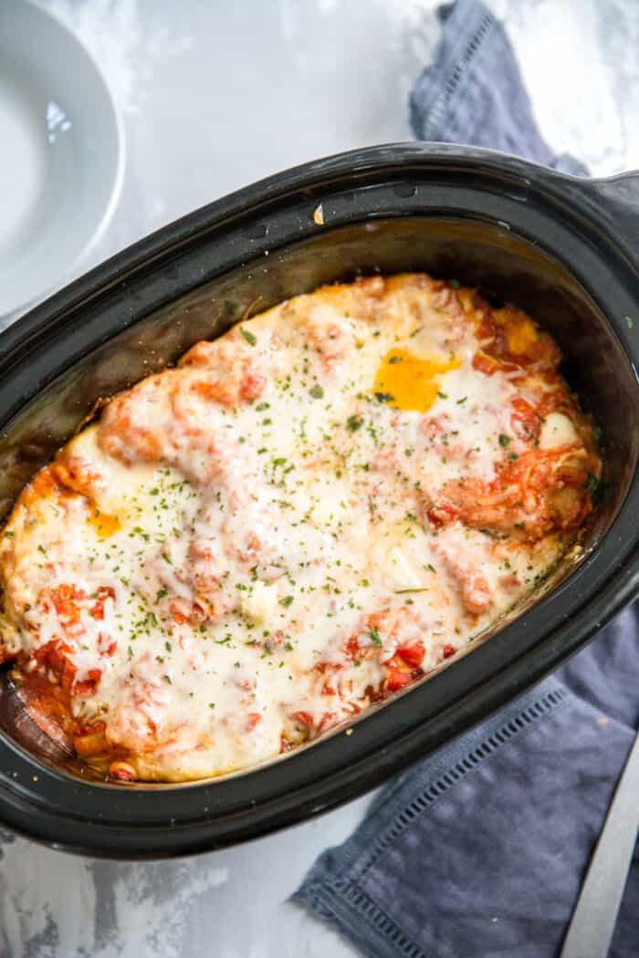 crockpot lasagna whole in the crockpot