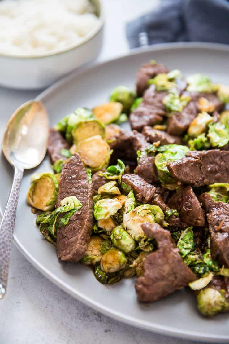 beef stir fry with spoon