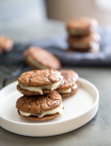Tiramisu Sandwich cookies white plate