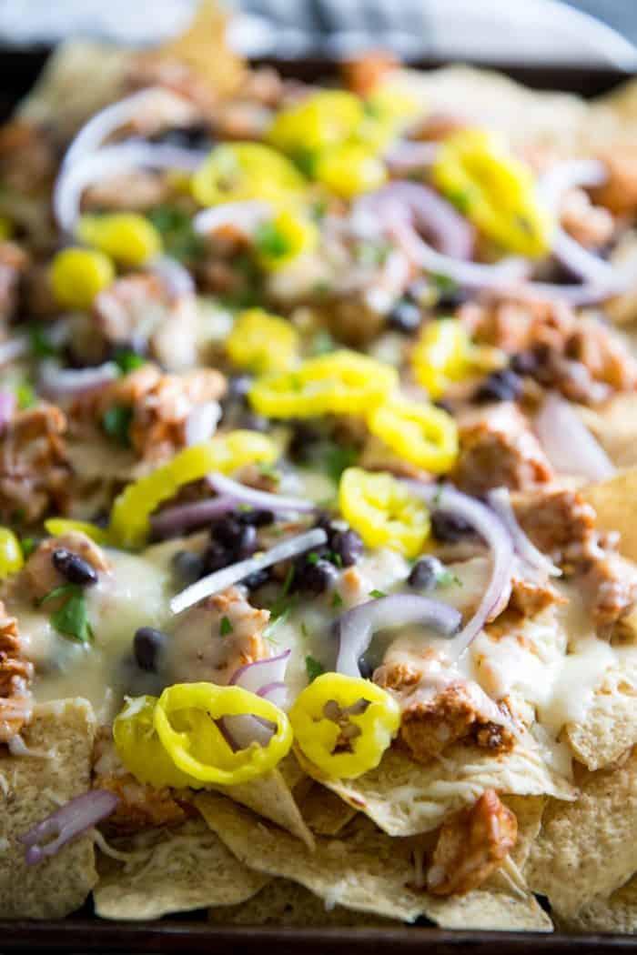 BBQ Chicken Nachos close up