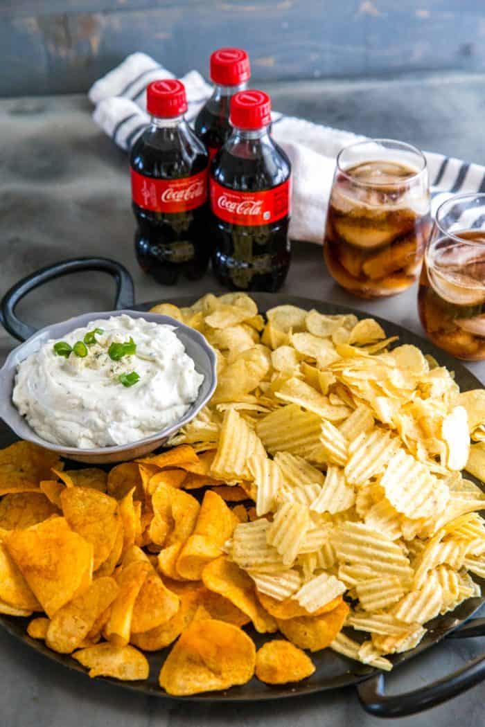 Blue cheese dip with a tray of chips