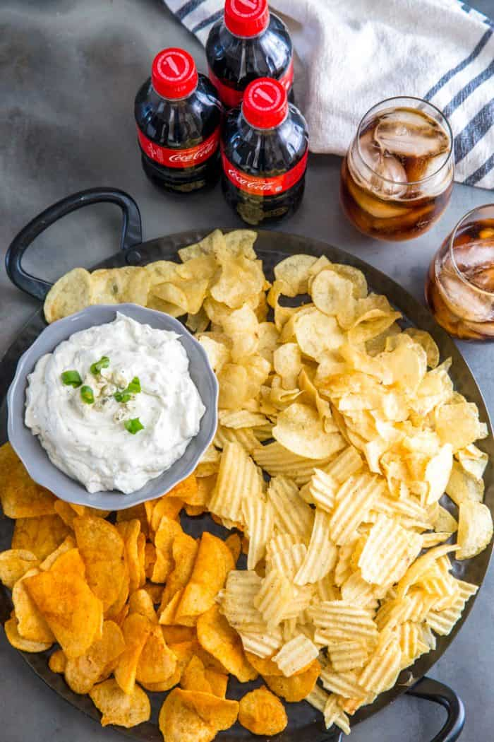 blue cheese dip surrounded by chips