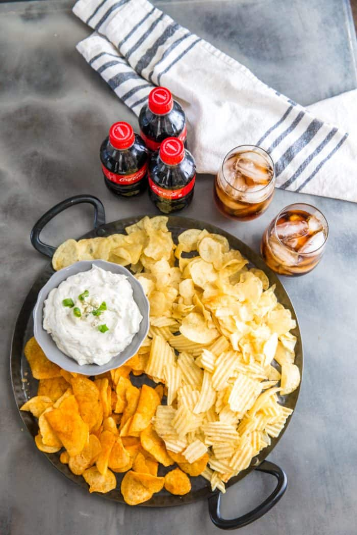 blue cheese dip on tray near drinks