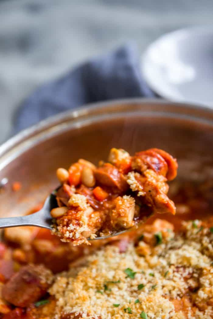 cassoulet recipe served with a spoon