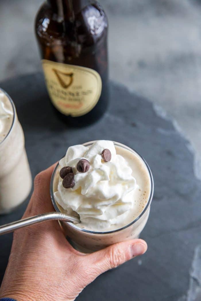 Hand held Guinness milkshake