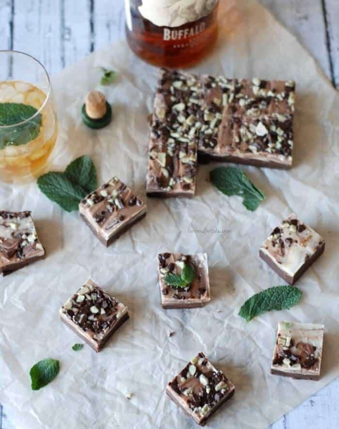 Simple and sweet chocolate and mint swirled fudge with a kick of bourbon www.lemonsforlulu.com