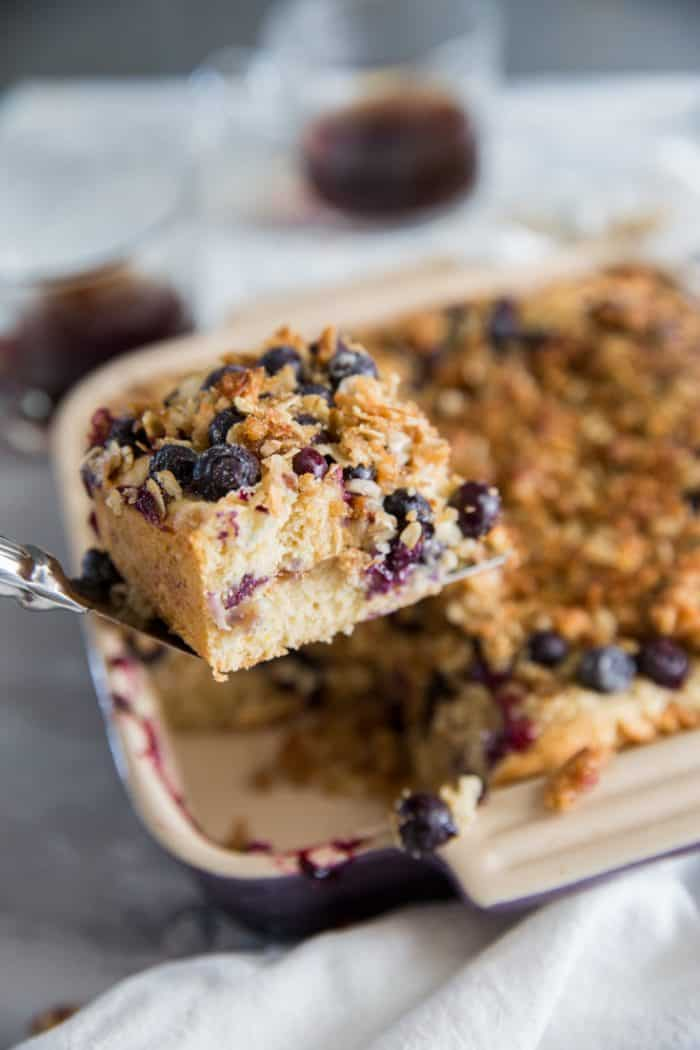 Blueberry Coffee Cake lifted out of pan