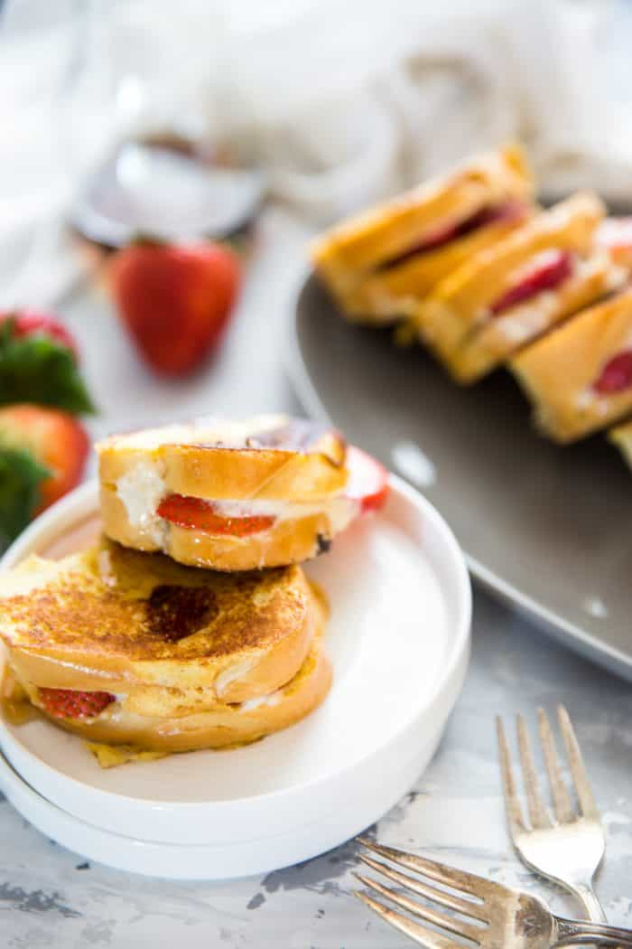 stuffed French toast two slices on a plate
