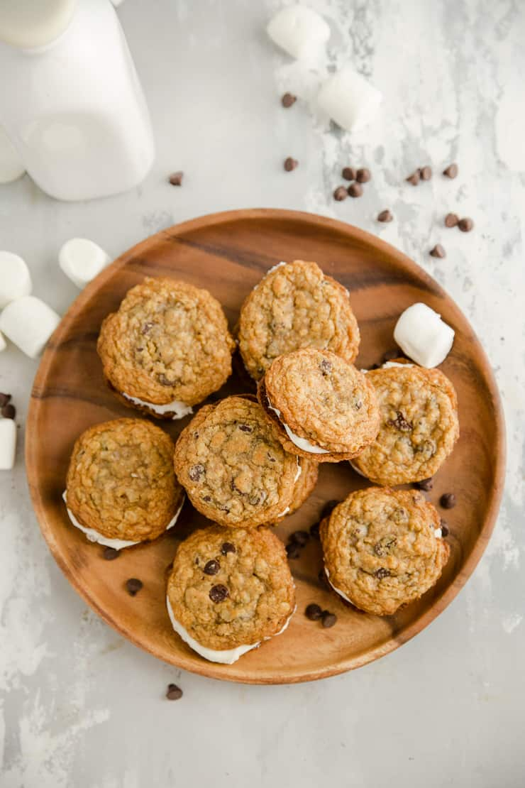 oatmeal cream pies on a brown plate