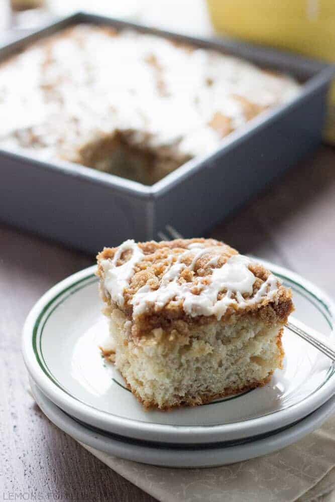 """This is such an easy coffee cake! The ginger streusel and the maple glaze makes it festive and easy! www.lemonsforlulu.com #Fleischmann's Yeast"""" width="""