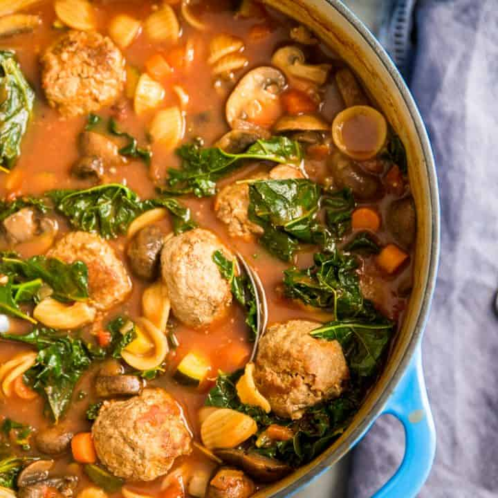 vegetable kale soup with meatballs