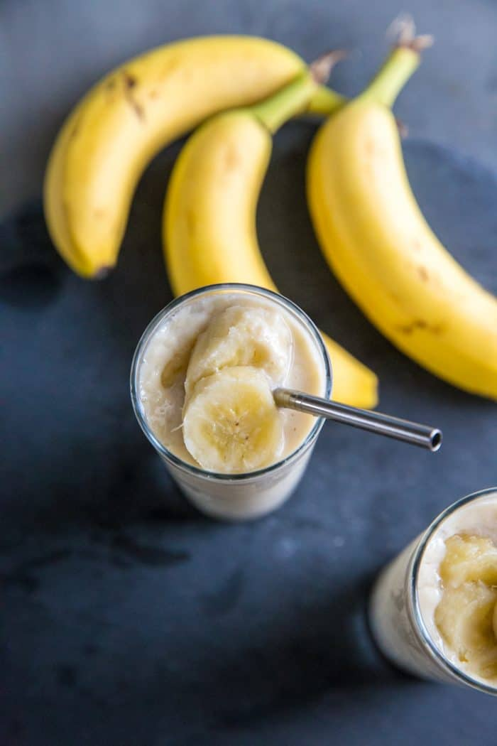 close up one banana smoothie
