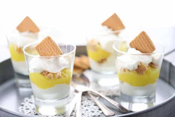 This easy dessert is simply made up of lemon pie filling and white chocolate mousse! The perfect end to any meal. lemonsforlulu.com