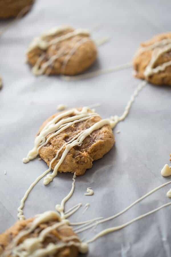 Heath toffee bits are found in each bite of these simple pumpkin cookies! lemonsforlulu.com