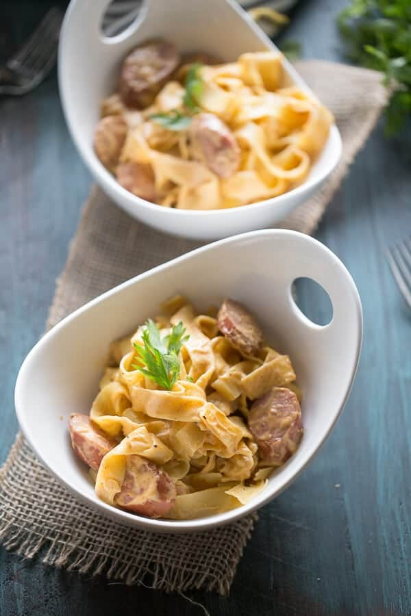 A simple pumpkin pasta sauce recipe that is spiced with chipotle peppers. The sauce and pasta are lightly tossed with smoked sausage! Each bite is rich and flavorful! lemonsforlulu.com