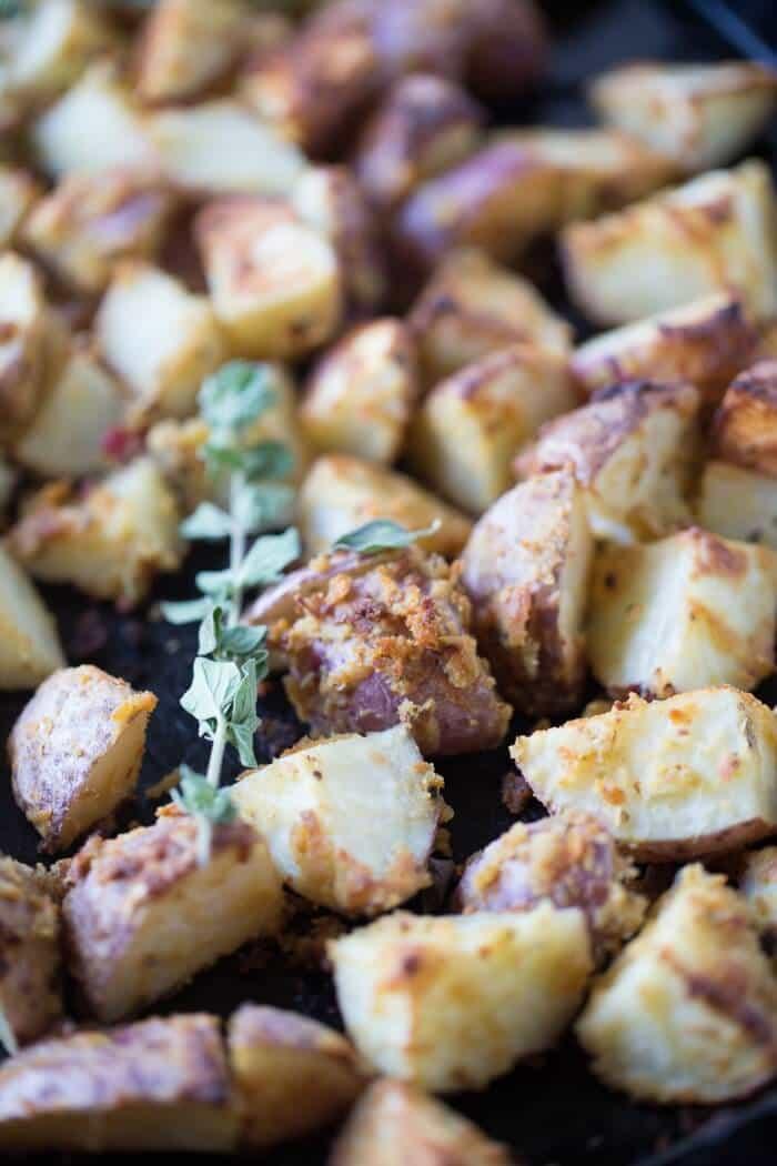 Easy-roasted-potatoes-tossed-with-hummus- and-Greek-seasoning! lemonsforlulu.com