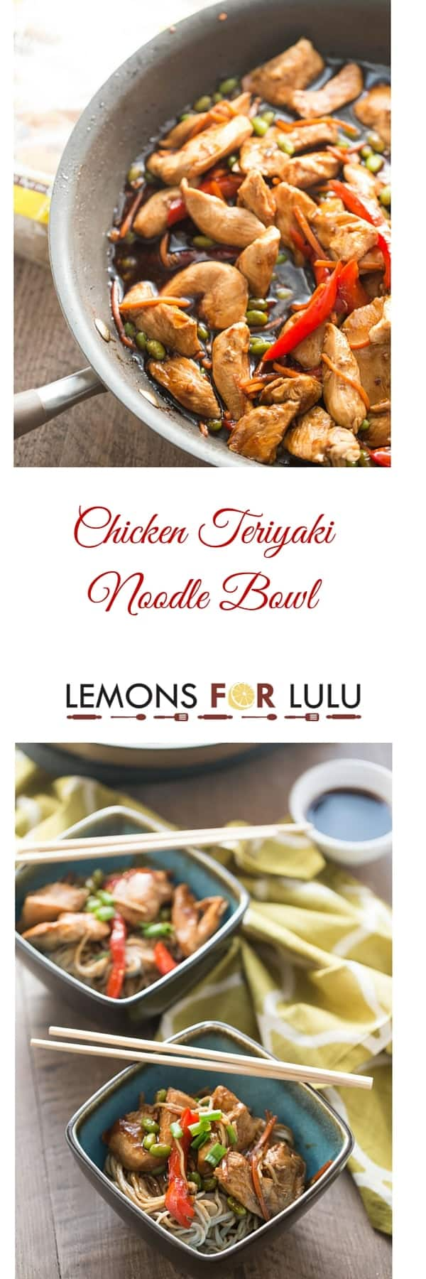 photo collage - simple chicken teriyaki in bowls.