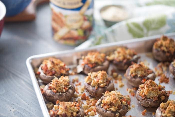 Easy andouille stuffed mushroom recipe make the perfect party appetizer! lemonsforlulu.com