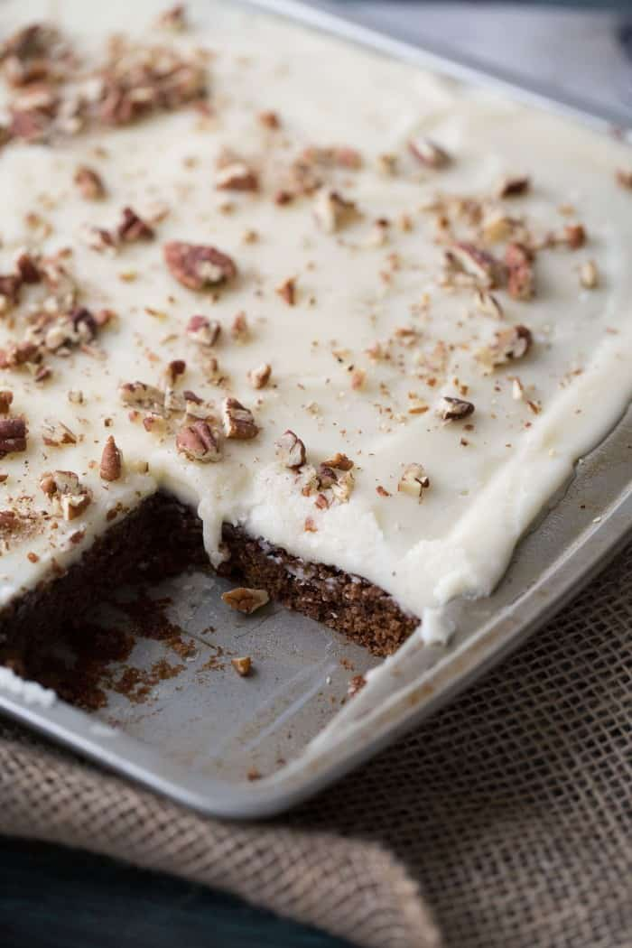 This holiday version of a Texas sheet cake is fabulous! Chocolate and gingerbread are present in each bite; the vanilla cream cheese frosting is to die for! lemonsforlulu.com