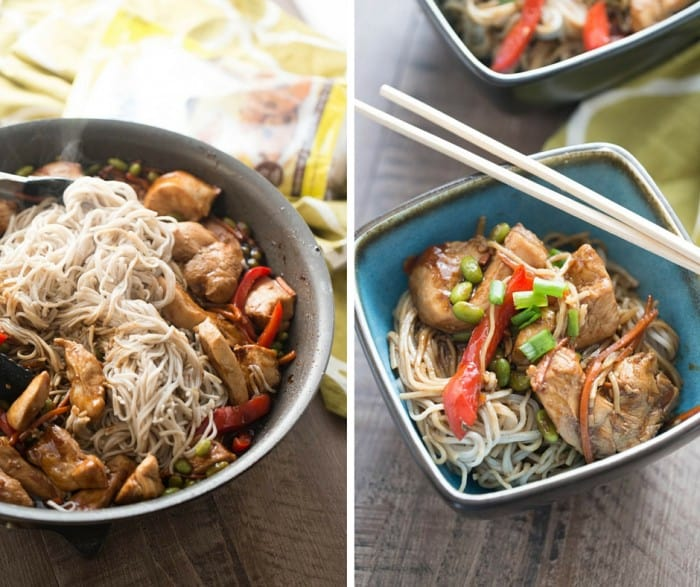 photo collage - Delicious chicken teriyaki recipe in bowls with chopsticks on a wooden table.