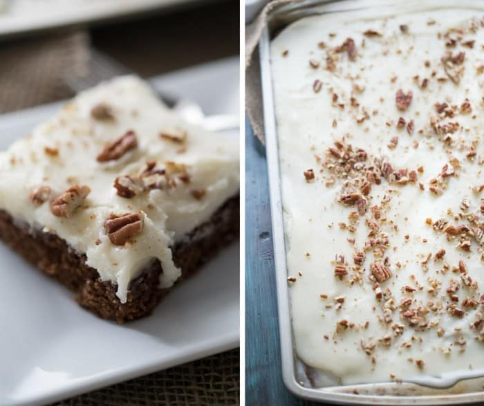 This will be the best cake you eat over the holidays! This chocolate gingerbread Texas sheet cake is perfect for all your holiday gatherings! lemonsforlulu.com