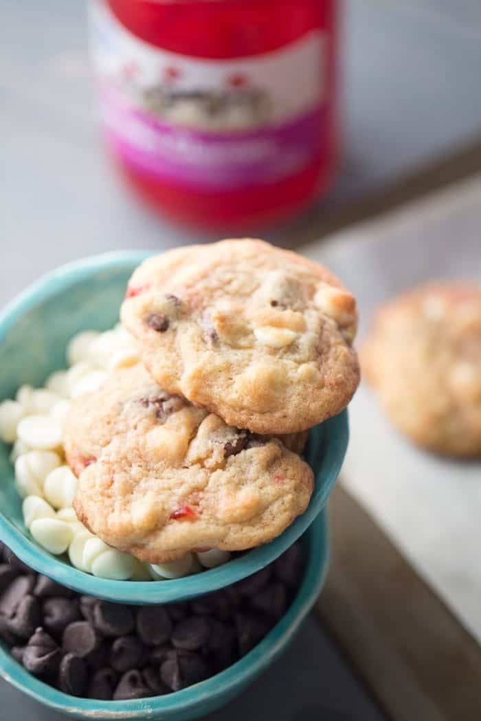 Chew double chocolate chip cookies with white and semi-sweet chocolate chips and maraschino cherries to make them extra sweet! lemonsforlulu.com
