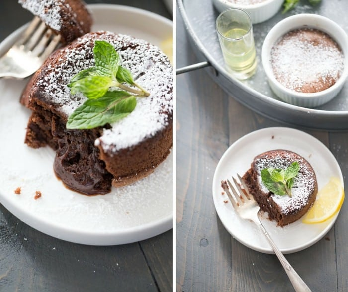 Limoncello Chocolate Lava Cake - Want a dessert recipe that will impress? Then look no further than this easy lava cake recipe! A hint of lemon adds elegants and a flavor surprise to thes rich cakes, but the fudgy center makes them irresistible!