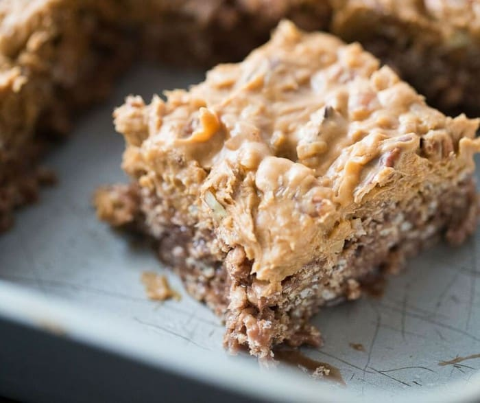 This scotcharoo recipe combines two fabulous desserts; krispy treats and German chocolate cake!