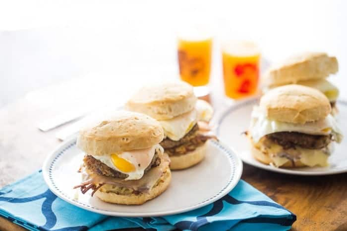 Goetta steals the show in this easy breakfast sandwich! Canned biscuit are filled with hash browns, cheese, egg and of course Goetta!
