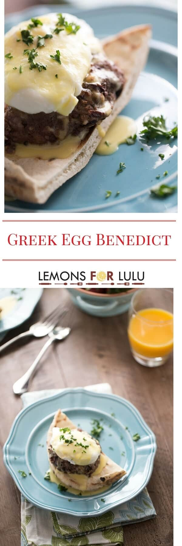 Breakfast is served! Thick lamb patties, pita bread, poached eggs and a simple blender hollandaise sauce makes this Greek Egg Benedict and unforgettable way to start the day