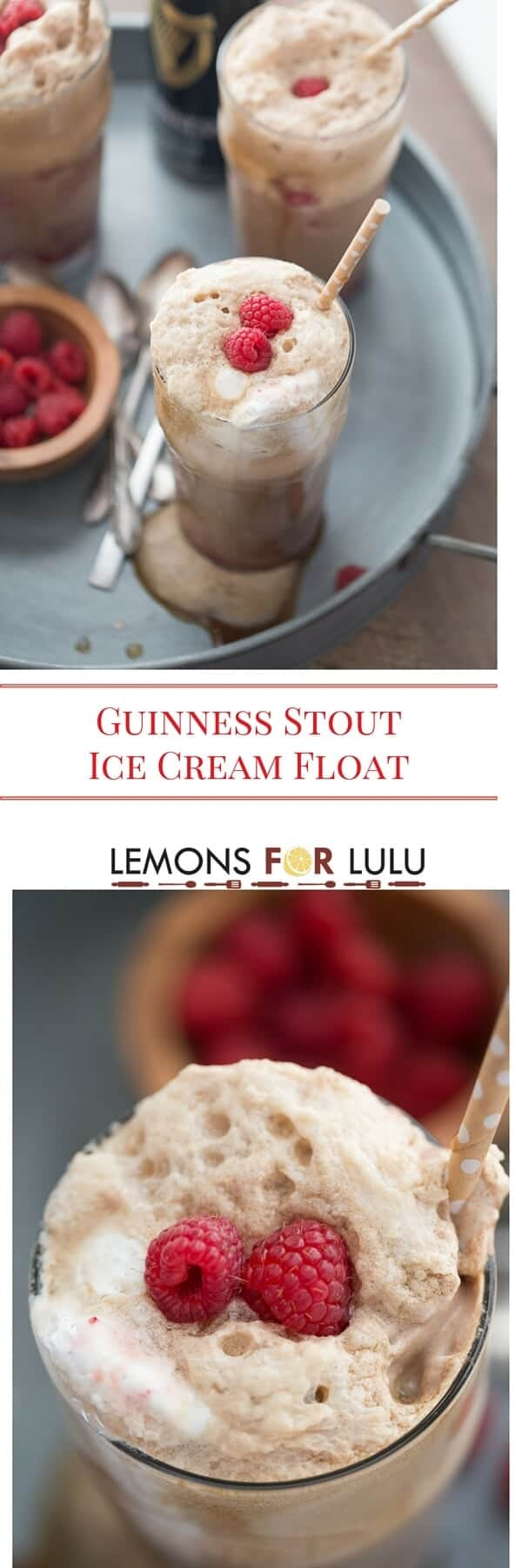 Creamy Guinness Stout Beer is the perfect partner to sweet ice cream and fresh berries in this easy ice cream float recipe!
