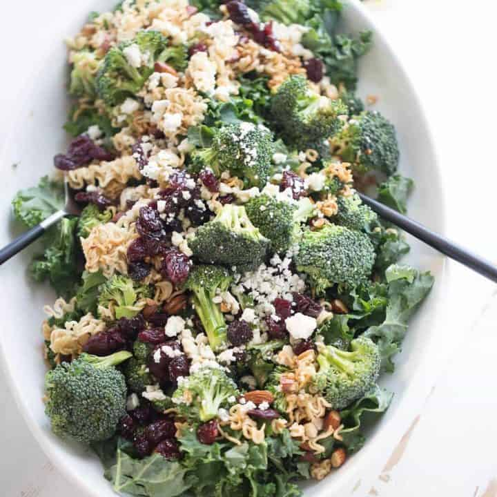 Ramen noodle salad with fresh broccoli, almonds, kale cherries and blue cheese!
