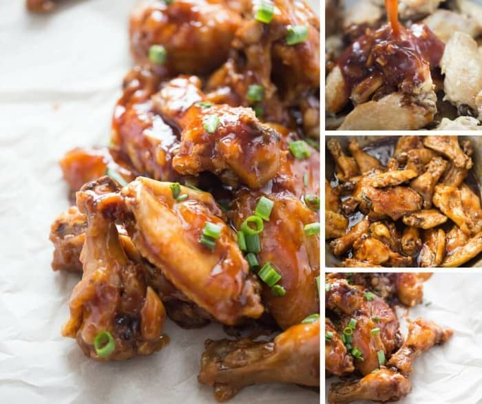 Hot and crispy oven baked chicken wings are coated in a sticky sweet sauce made with fig jam and stout beer. These give new meaning to finger licking good!