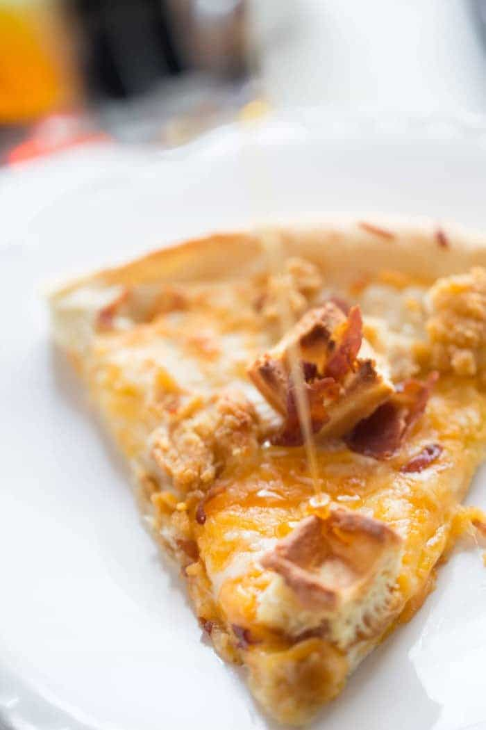 Chicken and Waffles Pizza; you'll never do take out again!