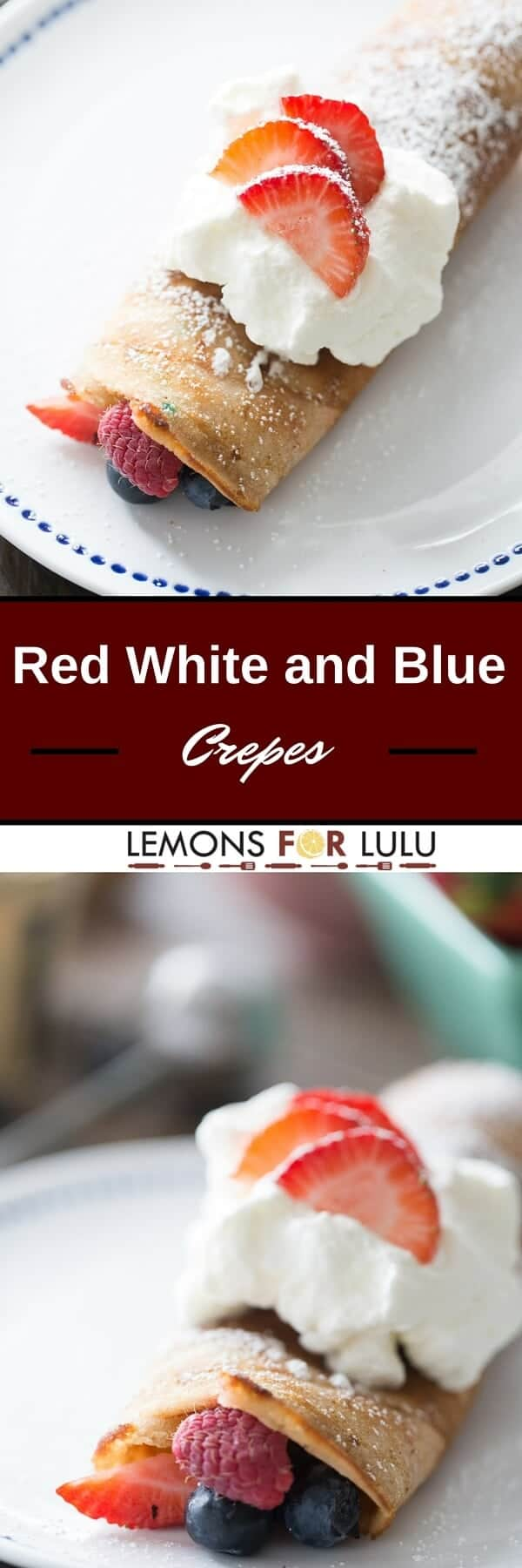 Red, White and Blue dessert crepes could not be simpler! These crepes start with a cake mix; each one is filled with lots fresh berries and topped with homemade whipped cream!