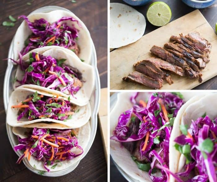 Grilled steak is rubbed in a smoky blend of spices. Tacos are filled with homemade refried black beans, steak and a honey lime slaw for a fusion flavored meal!