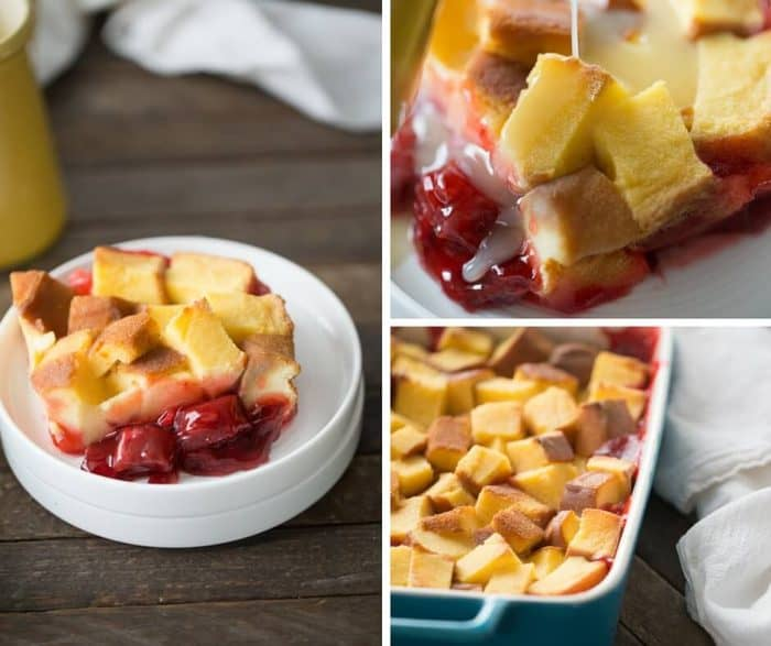 Strawberry rhubarb pie filling is topped with pound cake and baked in a custard sauce. A vanilla glaze is drizzled over top this easy dessert recipe!