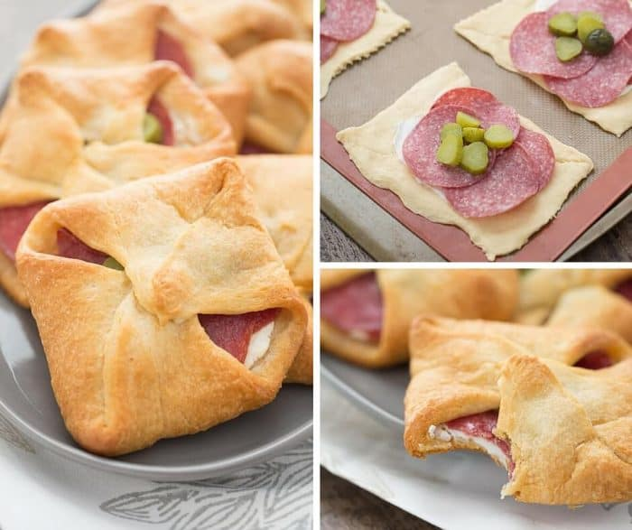 Bundles made with crescent dough are filled with cream cheese, herbs, salami and pickles. A surprising good break from the ordinary!