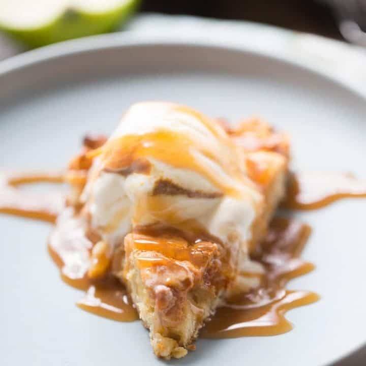 This skillet cookie recipe has big chunks of tart, fresh apples and lots of sweet butterscotch chips. This cookie has a tender, cake-like feel but with the crispy edges of a really good cookie!