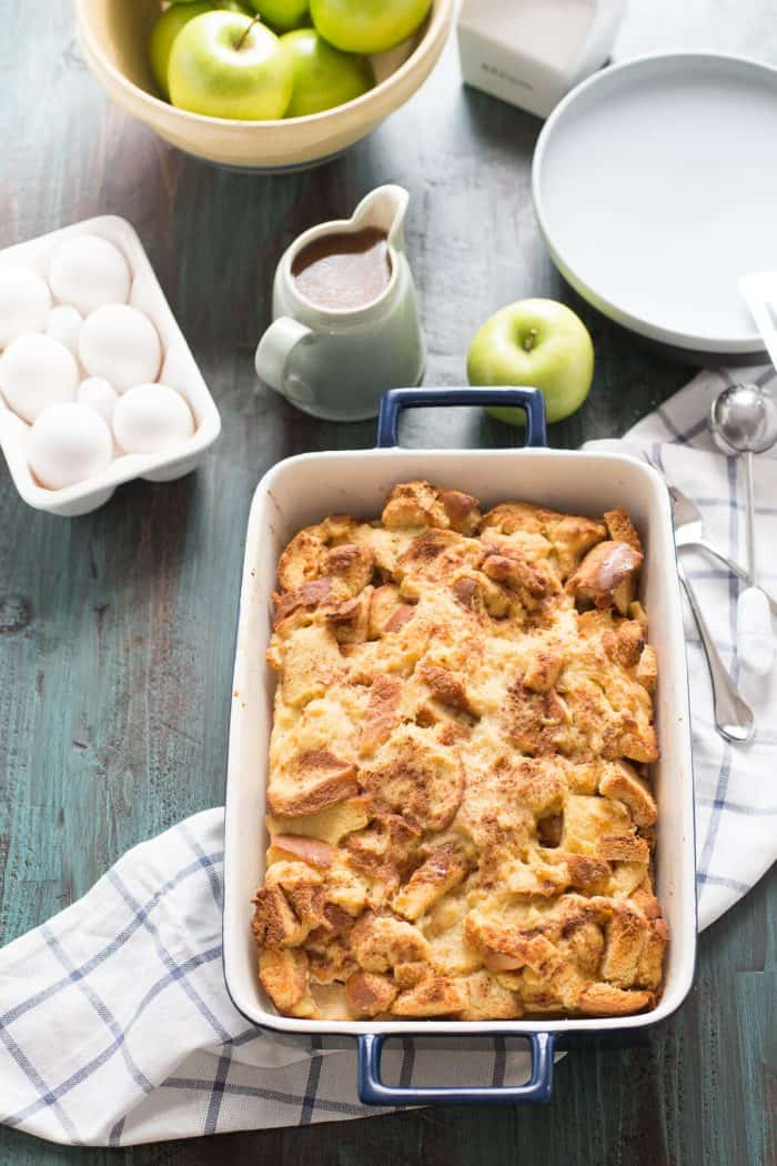 This bread pudding recipe has cinnamon apples tucked inside and then is served with a luscious caramel sauce!